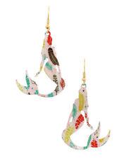 New Goldtone Multicolor Mermaid Dangle Fish Hook Earrings