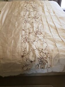 Bed runner embroidered size 100cm x 200cm cream faux silk
