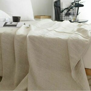 100% Pure Linen Bed Sheet Cover Bedsheet French Flax Organic Natural Plain Blue