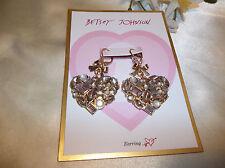 Betsey Johnson Happy Pretty Pink Stone Cluster Heart Drop Earrings NWT $40