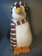 "STERLING PLUSH 19"" CHRISTMAS PENGUIN WITH GREEN  STOCKING CAP"