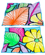 Pb Teen (2) Tropical Floral Pillow Shams Bright Jungle Leaf Flowers Multi-Color