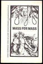 Theaterprogramm, Kammerspiele des DT Berlin, Shakespeare, Mass für Mass, 1971