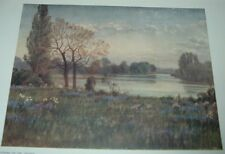 1908 Color Print LOOKING UP THE THAMES RIVER Thomas Mower Martin RCA