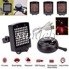 64 LED Bicycle Bike Rear Tail Laser Indicator Turn Signal Light Wireless Remote
