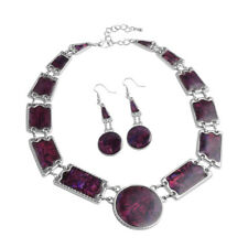 PURPLE ABALONE GENUINE GEMSTONE EARRING AND BIB NECKLACE SILVER TONE SET 16""