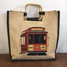SAN FRANCISCO Trolly Koret Cable Car Burlap Shopping Tote Bag (B1)