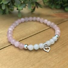 Rainbow Moonstone & Rose Quartz Sterling Silver Bracelet  Love Fertility Healing