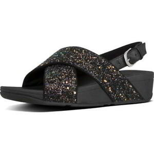 Fitflop Lulu Glitter Back Strap Womens Ladies Black Slide Sandals Size UK 4-8