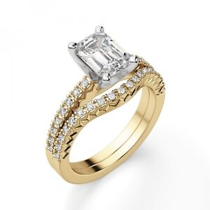 2.50 Ct Emerald Cut Diamond Wedding Band Sets 14K Solid Yellow Gold Rings Size 5