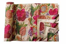 Indian Vintage Floral Print Kantha Quilt Throw Reversible Cotton Bedspread Gudri