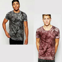 Mens New Look Short Sleeve Burnout Floral Print T-Shirt Size S
