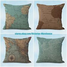 US SELLER- 4pcs patio furniture cushions cushion covers vintage world map travel