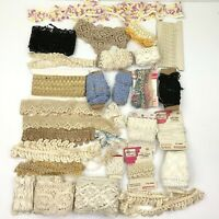 Vtg Crocheted Lace Trim Lot Assortment Crafts Sewing Junk Journal Scrapbook