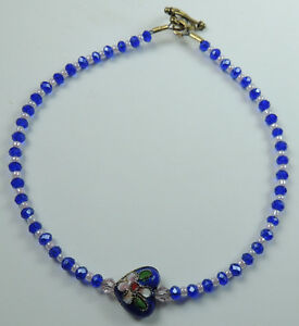 Anklet Blue Crystal Bead Cloisonne Heart Handcrafted Foot Jewelry Ankle Bracelet