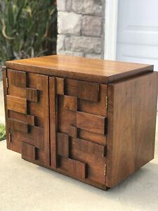 Mid century Lane Brutalist nightstand side table