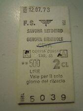 BIGLIETTO DEL TRENO CARTONATO - SAVONA LETIMBRO GENOVA BRIGNOLE CEVA - C10-301