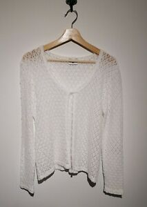 Vintage New Look UK 14 White Crochet Cardigan One Button 90's Y2K Blogger