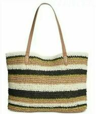 💋 I.N.C. International Concepts Tropical Straw Stripe Tote, Black/Natural ~NWT