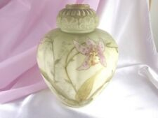 HTF 1870 SMITH BROS MT WASHINGTON 8 1/2 PINK ORCHIDS MELON RIBBED ART GLASS VASE