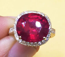 14K YELLOW GOLD 7.00CT CUSHION RUBY & ROUND DIAMOND ANTIQUE DESIGN BRIDAL RING