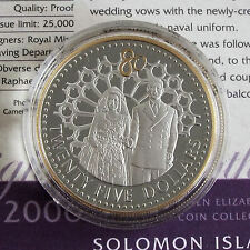 SOLOMON ISLANDS 2006 QEII 80th BIRTHDAY SILVER PROOF $25 WITH .999 GOLD PLATING