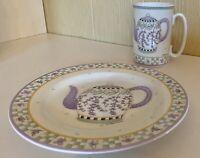 "2001 Sakura Oneida ""Lavender Tea Garden"" Salad Plate & Mug Teapot Debbie Mumm"