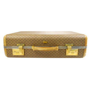 GUCCI GG Trunk Hand Bag Hard Case 1000200 Brown PVC Leather Vintage 83306