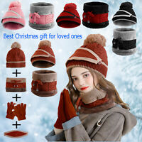 Women Winter Snow Beanie Hat Knitted Scarf Set Skull Cap Touch Screen Ski Gloves