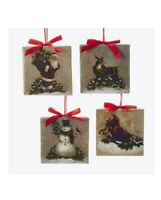 "Kurt Adler 3.5"" Square Ornament Set of 4 Christmas Tree Ornaments"
