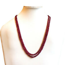 Glass Filed Ruby Beads Necklace 3-4 mm Loose Smooth Gemstone, Ruby Rondelle bead
