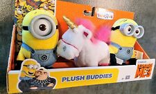 3 Despicable Me 3 PLUSH BUDDIES FLUFFY the Unicorn Carl & Dave