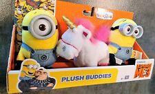 3 Despicable Me 3 PLUSH BUDDIES FLUFFY the Unicorn Carl & Dave