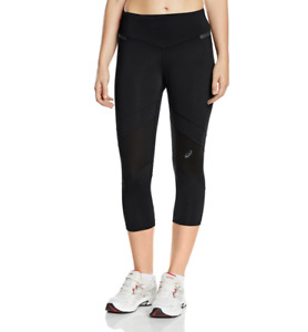 Asics Women's Fitness Tights 3/4 Length Sports Tights - Black - New
