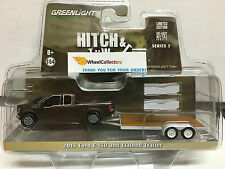 Greenlight * Hitch & Tow Series 5 * 2015 Ford F-150 BROWN & Flatbed Trailer
