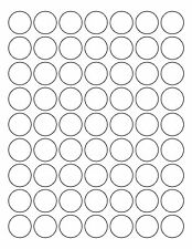 "1,000 Sheets of Round White Circular Labels 1"" Diameter RB185"
