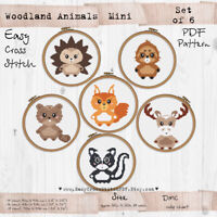 Woodland animals Mini set of 6 nursery decor Cross stitch PDF Pattern #190