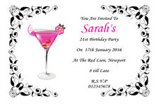 10 Personalised Any Age 18th 21st, 30th 40th 50th  Birthday Party Invitations