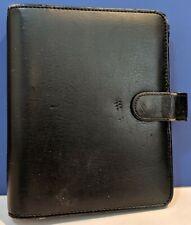Vintage Franklin Planner Compact Black Faux Leather Planner Binder Snap Closure