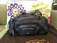 Tod ' S  Black Grained  Leather Shoulder Bag  Authentic Made In Italy EUC