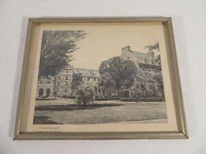 Vintage 1965 Rutkowski Print ~ Pennsylvania Penn State W. Halls Courtyard
