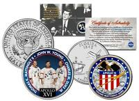 APOLLO 16 SPACE Colorized 2-Coin Set Quarter & JFK Half Dollar NASA ASTRONAUTS