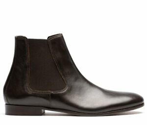H By Hudson Black Leather Wynford Smart Calf Biker Chelsea Ankle Boots 6 to 10
