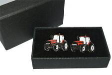 Case International Red Tractor Cufflinks Gift BOXED! Wedding Farming Enamel
