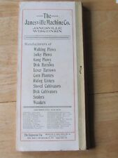 1910 JANESVILLE MACHINE CO ADVERTISING DOCUMENT FARM PLOWS HARROWS