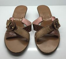 SALVATORE FERRAGAMO Brown Leather Low Heel Sandals Signature Buckle 9B Italy