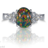 Ovale Australian Pink Fire Opal Yin Yang Blanc Saphir Zircone cubique Argent Sterling Ring