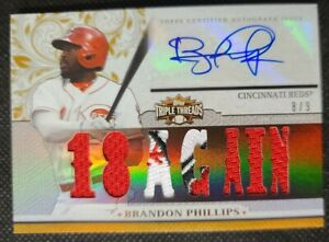 "2014 Topps Triple Threads Brandon Phillips #8/9 Patch Auto ""18 Again"" Autograph"