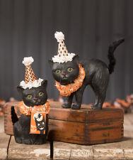 Bethany Lowe BLACK CAT SOIREE (Set of 2) Halloween Black Cat Figures (TJ9517)