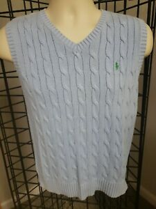 Polo Ralph Lauren Boys Young Man V Neck light baby Blue Vest Sweater SZ M 12/14